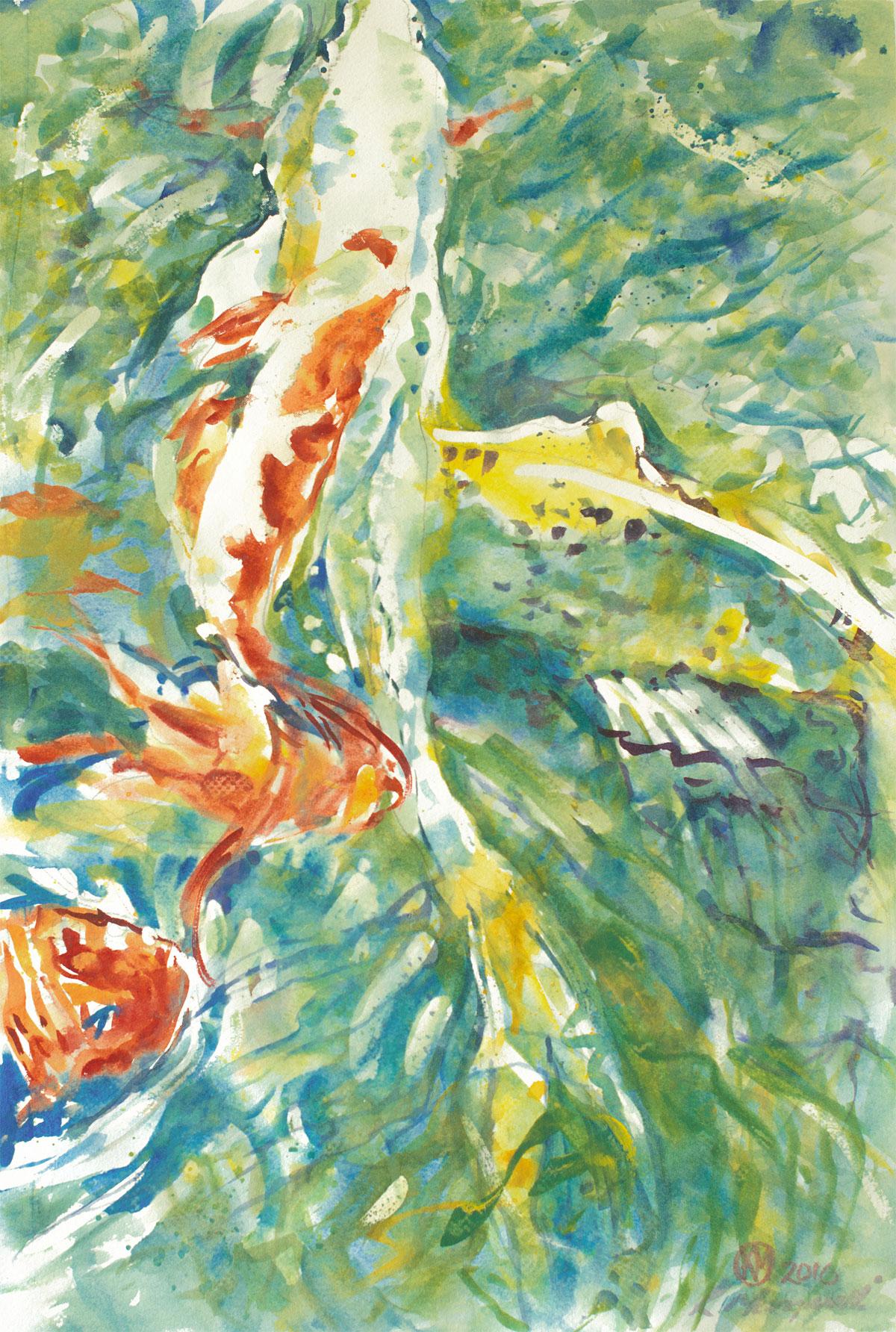 Koi pond art by kathryn morganelli for Koi pond art